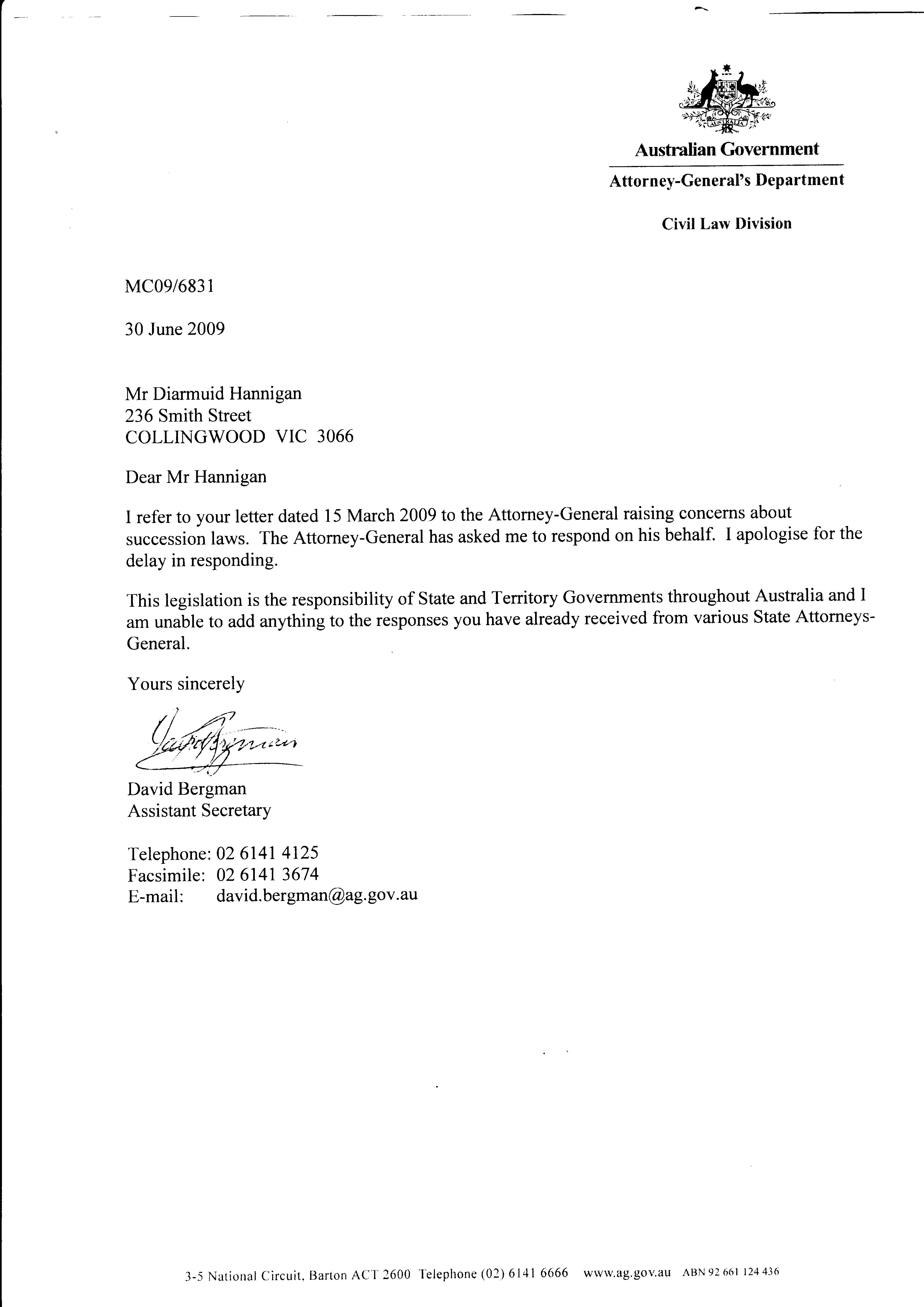 attorney general 30 06 2009