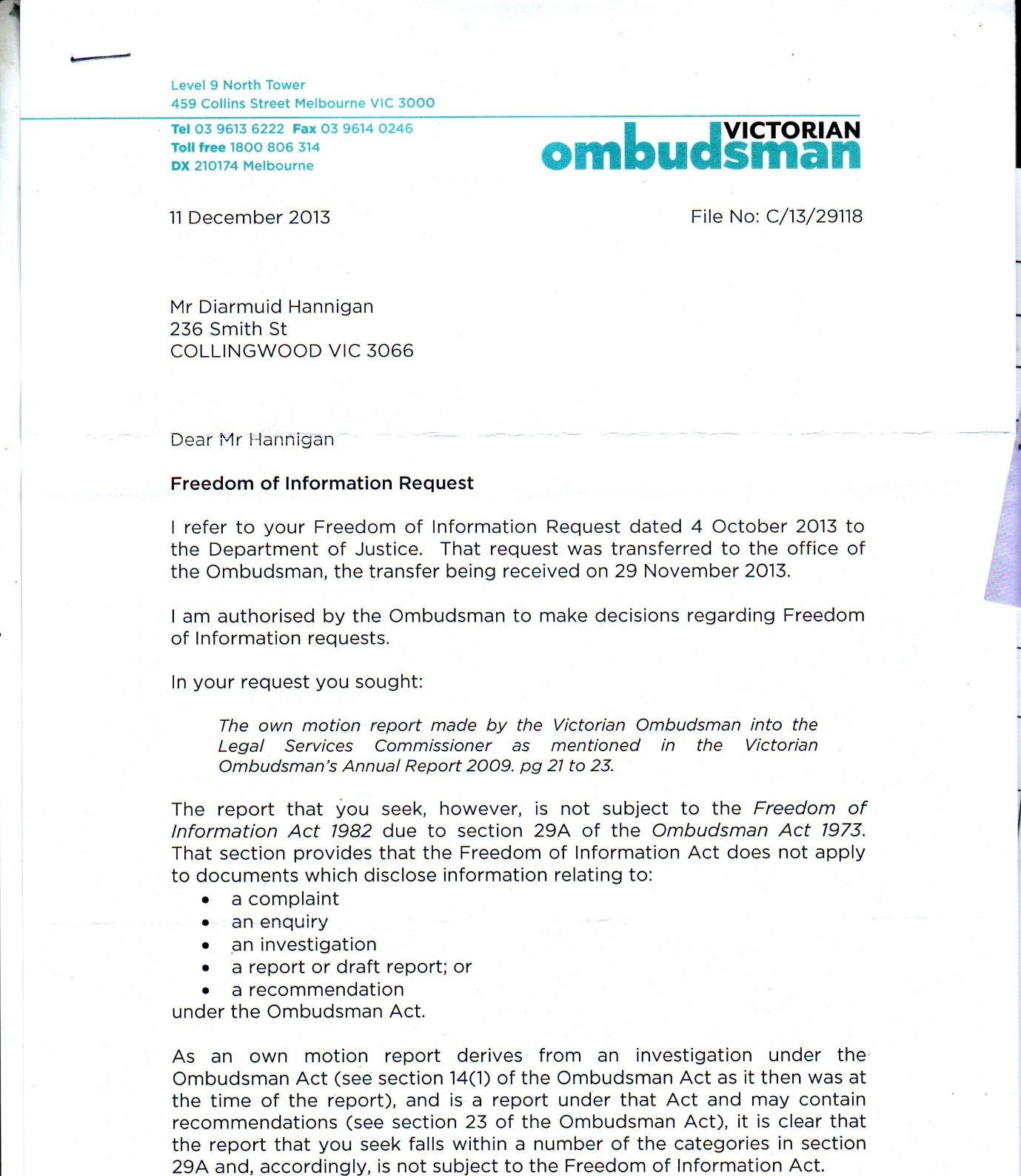 FOI Ombudsmans LSC DEC2013 pg1