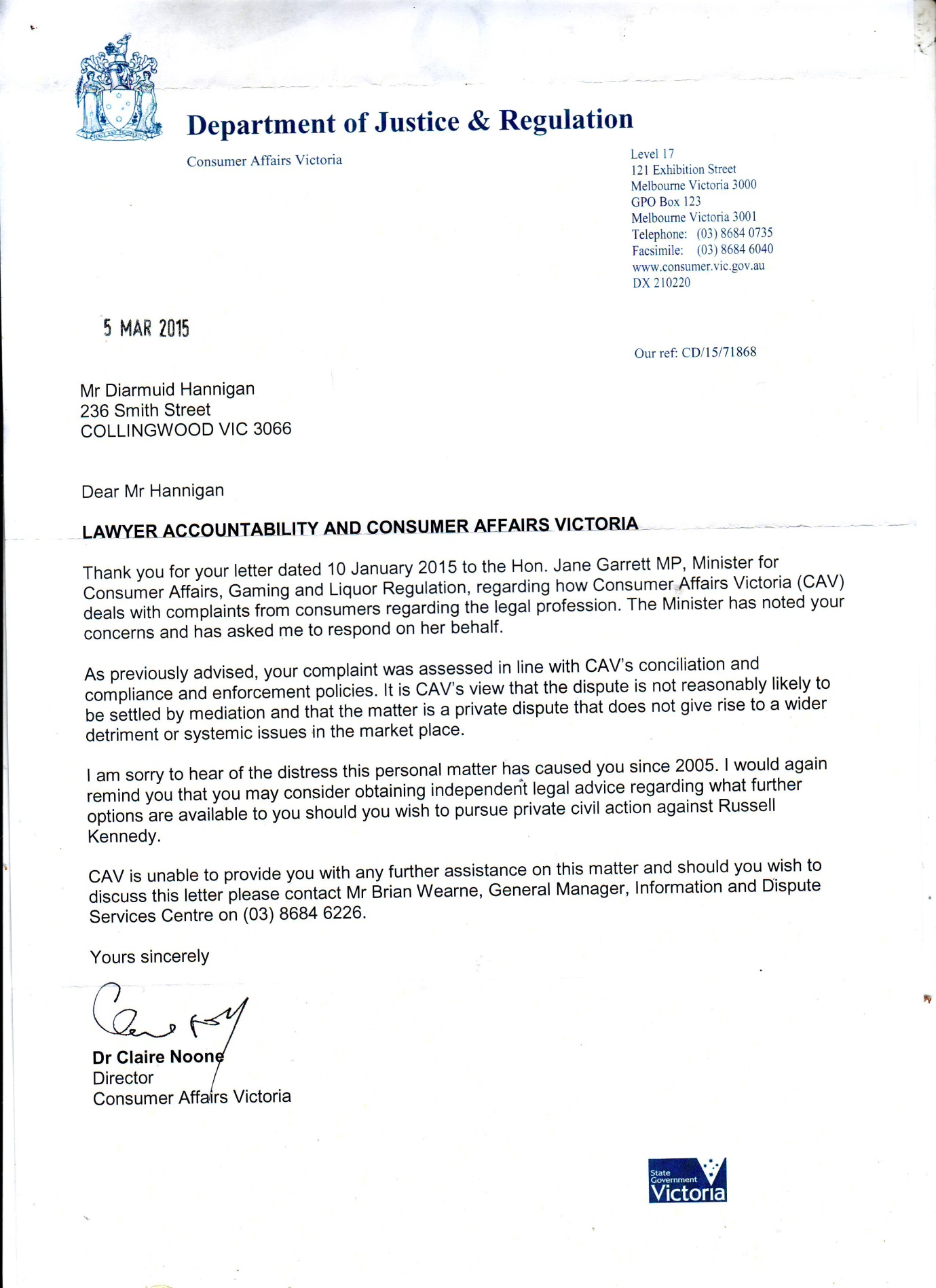 Consumer Affairs Victoria (CAV) consumer reply 5th March 2015 pg1