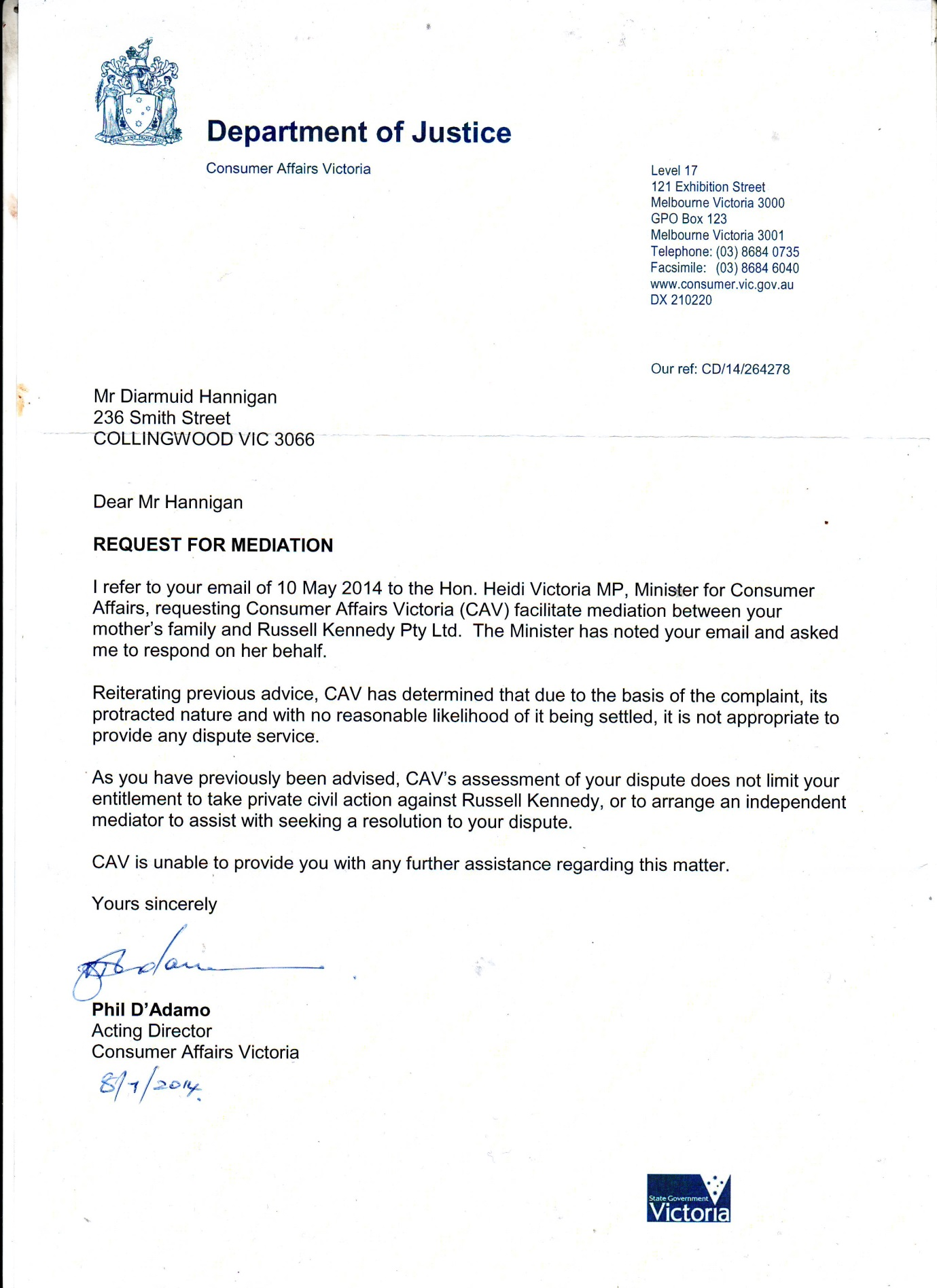 consumer reply july 18 2014 Request for mediation pg1