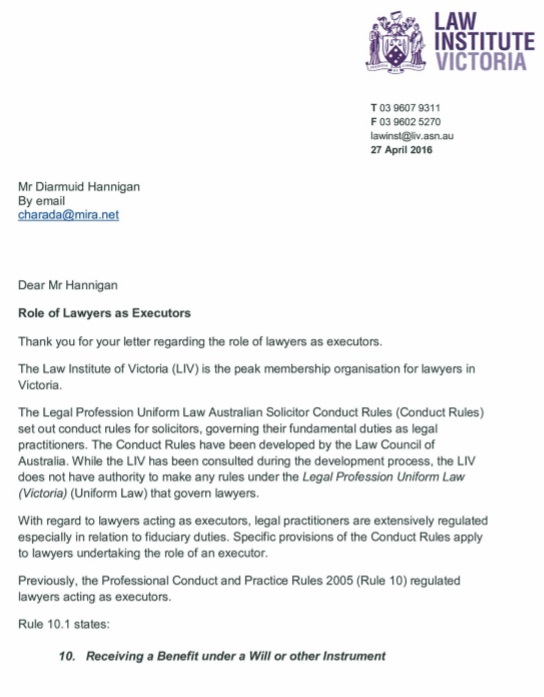 Letter from Law Institute of Victoria Pg1